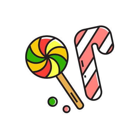 holiday food: Illustration of candy cane and lollipop. Sweets, food, holiday. Food concept. Can be used for topics like food, Christmas, sweets