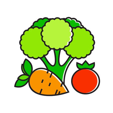 Illustration of carrot, broccoli and tomato. Vegetable, healthy food, vegetarianism. Food concept. Can be used for topics like food, vegetables, cooking Illustration