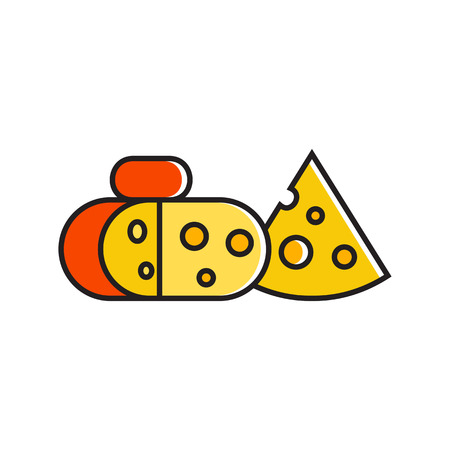 dairy product: Illustration of cut block of cheese. Food, piece of cheese, dairy product. Food concept. Can be used for topics like food, dairy products, cooking