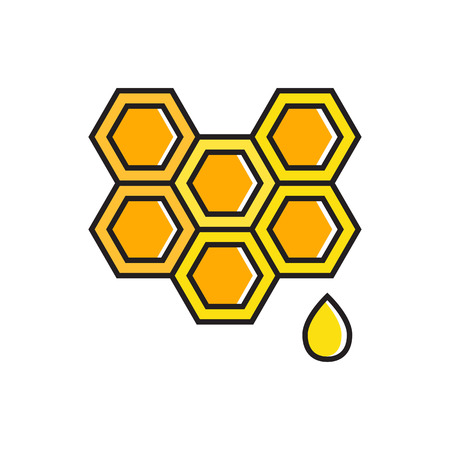 Illustration of honeycomb with honey drop. Sweet food, dessert, bees. Food concept. Can be used for topics like healthy food, dessert, medicine