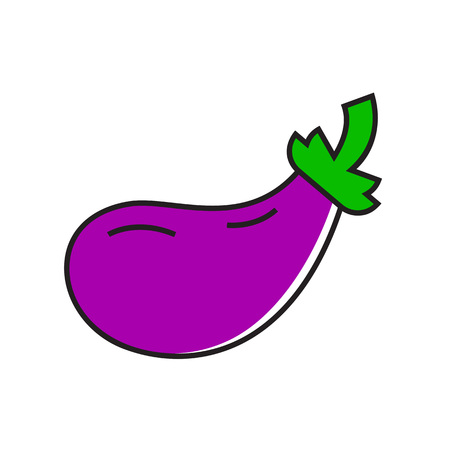 topics: Illustration of eggplant. Healthy food, vegetable, vegetarian. Food concept. Can be used for topics like food, vegetables, greengrocery