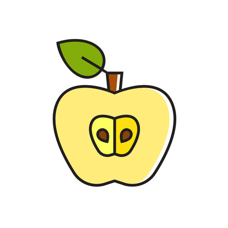 topics: Illustration of apple half. Fruit, seeds, leaf. Food concept. Can be used for topics like food, fruit, healthy food