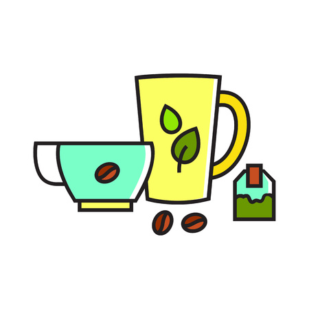 teabag: Illustration of tea and coffee cups. Teabag, coffee beans, drink. Drink concept. Can be used for topics like drink, coffee, tea