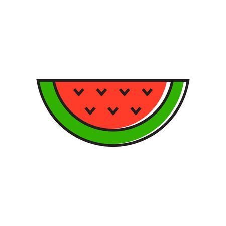 topics: Illustration of watermelon slice. Plant, dessert, seeds, food. Watermelon concept. Can be used for topics like food, fruit, dessert