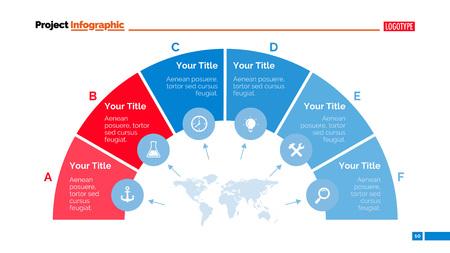 Prozessdiagramm Dia-Vorlage. Geschäftsdaten. Grafik, Grafik-Design,. Kreatives Konzept für Infografik, Vorlagen, Präsentation, Marketing. Kann für Themen wie Management, Strategie, Produktion verwendet werden.