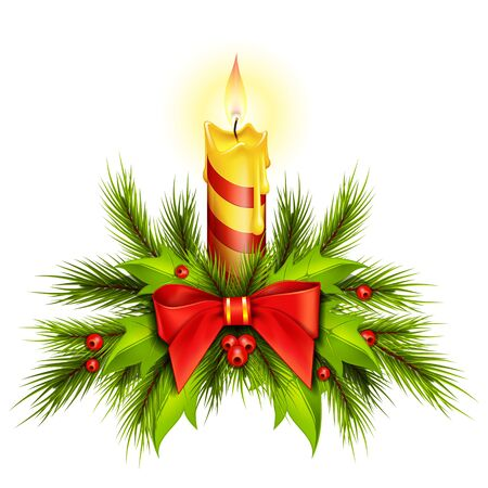 Brennende Weihnachtskerze mit Tannenzweigen und Mistelblättern dekoriert. Dekoration, Urlaub, Feier. Urlaub auf dem Konzept. Kann für Grußkarten, Plakate, Broschüren verwendet werden Vektorgrafik