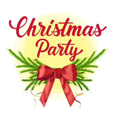 Christmas party lettering. Christmas party poster with fir sprigs and red bow. Handwritten text with decorative elements can be used posters, leaflets, flyers