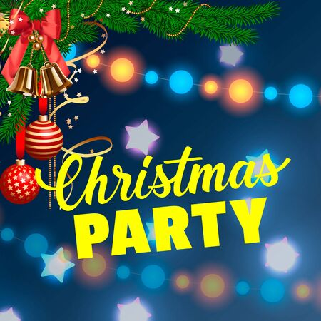 typed: Christmas Party lettering. Christmas invitation with garlands, fir tree branch and decorations. Handwritten and typed text, calligraphy. For invitations, posters, leaflets and brochure.