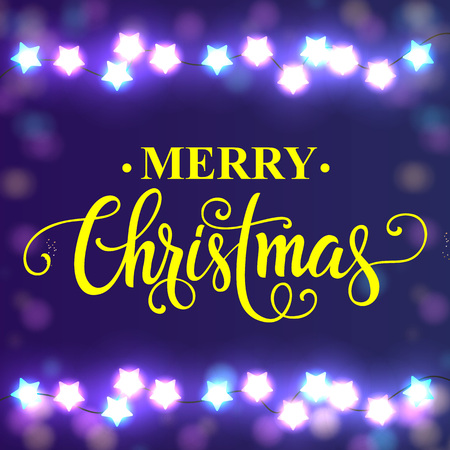 typed: Merry Christmas lettering. Christmas greeting card with star lights garlands. Handwritten and typed text, calligraphy. For greeting cards, posters, leaflets and brochure. Illustration