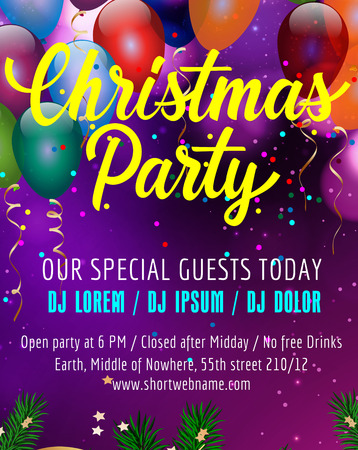 leaflets: Christmas party lettering. Poster design template with balloons, confetti and fir sprigs. Handwritten text. Holiday concept. Can be used for posters, banners, leaflets Illustration