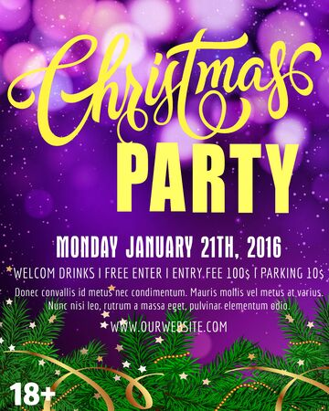 sprig: Christmas party lettering. Christmas party poster with fir sprigs and lights of round shape. Handwritten text with decorative elements can be used posters, leaflets, banners