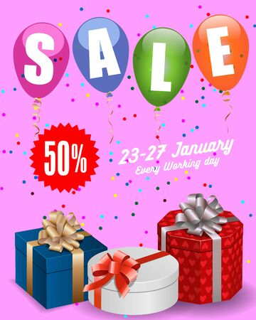 leaflets: Sale lettering. Sale poster template with present boxes, balloons, confetti and star sign with discount percent. Sale concept. Can be used for posters, banners, leaflets