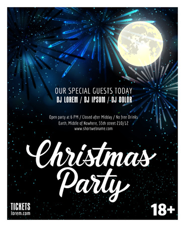 Christmas Party lettering. Christmas invitation with full moon and fireworks. Sample text. Handwritten text, calligraphy. For tickets, posters, banners, leaflets and brochure.