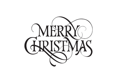 leaflets: Merry Christmas lettering. Christmas design element. Handwritten text, calligraphy. For greeting cards, posters, leaflets and brochure. Illustration