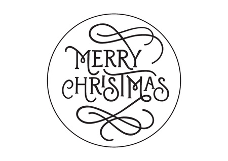 leaflets: Merry Christmas lettering in circle. Christmas design element. Handwritten text, calligraphy. For greeting cards, posters, leaflets and brochure. Illustration