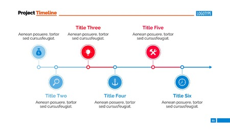 six point: Timeline chart. Abstract element of presentation, graph, diagram. Concept for business templates, layout, reports. Can be used for topics like business strategy, planning, annual report