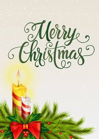 leaflets: Merry Christmas lettering. Christmas greeting card with fir tree branch, mistletoe and lit candles. Handwritten text, calligraphy. For greeting cards, posters, leaflets and brochure. Illustration
