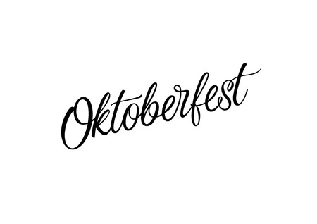 leaflets: Oktoberfest lettering. Oktoberfest design element. Handwritten text, calligraphy. For invitations, tickets, banners, posters, leaflets and brochure.