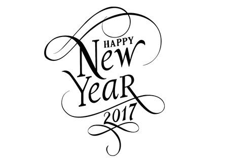 Feliz Año Nuevo 2017 letras. Nuevo elemento de diseño Día de Año Nuevo. Texto escrito. Para las tarjetas de felicitación, carteles, volantes y folletos. Ilustración de vector