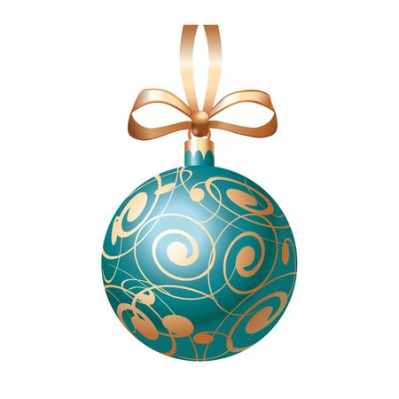 leaflets: Realistic Christmas ball with bow. Christmas design element. For greeting cards, posters, leaflets and brochures.