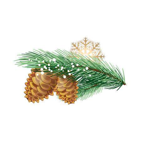 Realistische Tanne Zweig mit Zapfen und Schneeflocke. Weihnachts-Design-Element. Für Karten, Plakate, Faltblätter und Broschüren zu begrüßen.