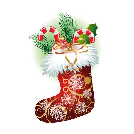 Calcetín de la Navidad realista con los bastones de caramelo, bola, rama de abeto y la hoja de muérdago. Navidad elementos de diseño. Para tarjetas de felicitación, carteles, volantes y folletos.