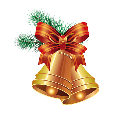 leaflets: Realistic two bells with bow and fir tree branch. Christmas design element. For greeting cards, posters, leaflets and brochures.