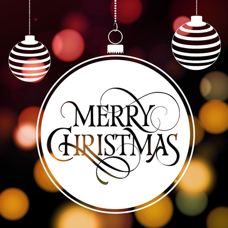 typed: Merry Christmas lettering in hanging ball. Christmas greeting card with balls and blurry circles in background. Typed text. For greeting cards, posters, leaflets and brochures.