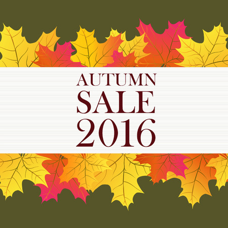 typed: Autumn sale 2016 lettering with yellow leaves. Typed text. For posters, banners, leaflets and brochures.