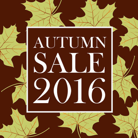 flier: Autumn sale 2016 lettering. Brown square with white autumn sale 2016 inscription isolated on background with green maple leaves. Can be used for postcard, flier, banner
