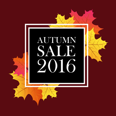 flier: Autumn sale 2016 lettering. Black square with white autumn sale inscription isolated on brown background with maple leaves. Can be used for postcard, flier, banner