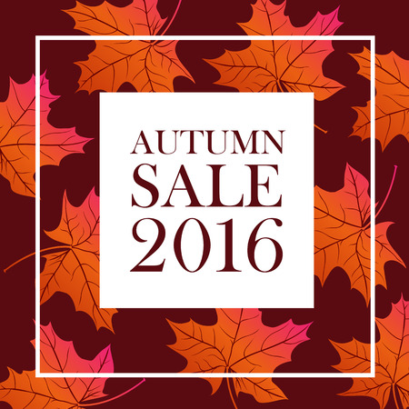 flier: Autumn sale 2016 lettering. White square with brown autumn sale inscription isolated on background with bright orange maple leaves. Can be used for postcard, flier, banner