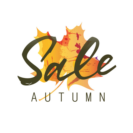 flier: Sale autumn lettering. Sale autumn inscription isolated on white background with colorful maple leaf silhouette. Calligraphy can be used for postcard, flier, banner Illustration