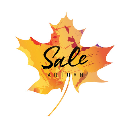 flier: Sale autumn lettering. Sale autumn inscription on colorful maple leaf silhouette. Calligraphy can be used for postcard, flier, banner
