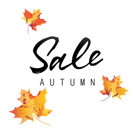 Sale autumn lettering. Black sale autumn inscription on white background with colorful maple leaves. Calligraphy can be used for postcard, flier, banner Illustration