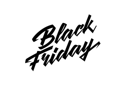 Black Friday lettering. Handwritten text, calligraphy. For posters, banners, leaflets and brochures.