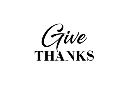 Give Thanks Lettering Black Inscription On White Background Handwritten Text Can Be