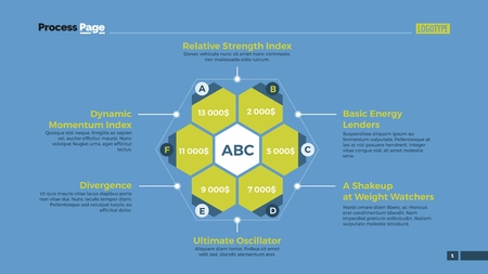 financial concept: Hexagon diagram with six options. Element of presentation, brochure, diagram. Concept for business templates, infographics, marketing reports. Can be used for topics like analysis, money, finance