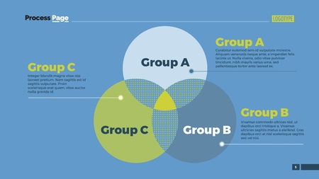Venn diagram with ABC letters. Element of presentation, diagram, layout. Concept for infographics, business templates, reports. Can be used for topics like business strategy, analysis, management Stock Illustratie