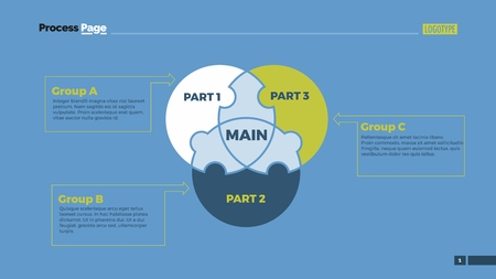 Circle puzzle Venn diagram. Element of presentation, puzzle diagram, layout. Concept for infographics, business templates, reports. Can be used for topics like business strategy, analysis, management