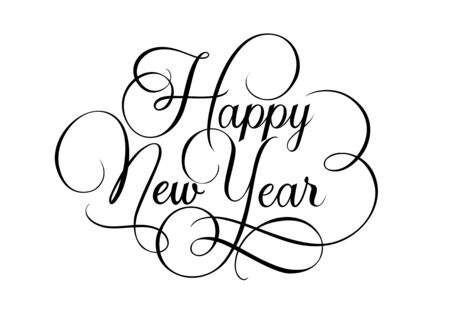 Happy New Year lettering with Swirls. New Year Day design element. Handwritten text, calligraphy. For greeting cards, posters, leaflets and brochure. Vettoriali