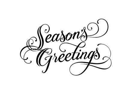 Seasons Greetings lettering. Handwritten text, calligraphy. For posters, banners, leaflets and brochures.