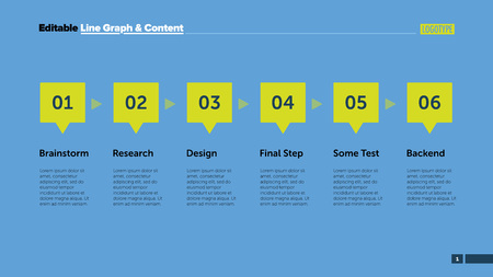 six point: Six steps process chart slide template. Business data. Graph, diagram, design. Creative concept for infographic, project. Can be used for topics like teamwork, management, planning.