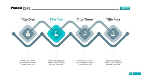 Prozessdiagramm Dia-Vorlage. Geschäftsdaten. Grafik, Grafik-Design,. Kreatives Konzept für Infografik, Vorlagen, Präsentation, Marketing. Kann für Themen wie Management, Strategie, Finanzen verwendet werden.