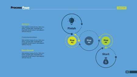 workflow: Three Steps Workflow Timeline Slide Template