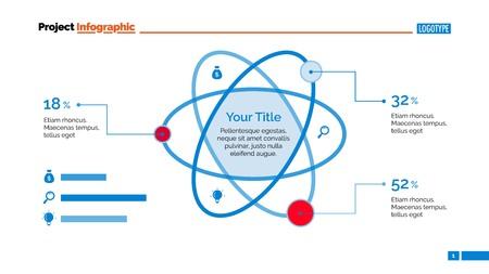 the percentage: Atom Percentage Chart Slide Template Illustration