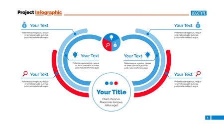 arc: Six Arc Process Chart Slide Template Illustration