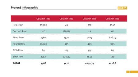 表グラフ スライド テンプレートです。ビジネス データ。グラフ、ダイアグラム、デザイン。インフォ グラフィック、レポートのための創造的な概