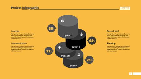 comparison: Four Comparison Cylinders Slide Template Illustration