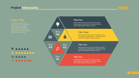 rhomb: Four Steps Rhomb Slide Template Illustration
